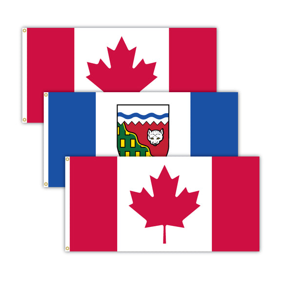 This bundle features 2x Canadian flags and 1x Northwest Territories flag.