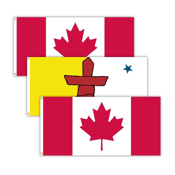This bundle features 2x Canadian flags and 1x Nunavut flag.