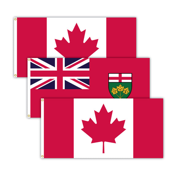 This bundle features 2x Canadian flags and 1x Ontario flag.