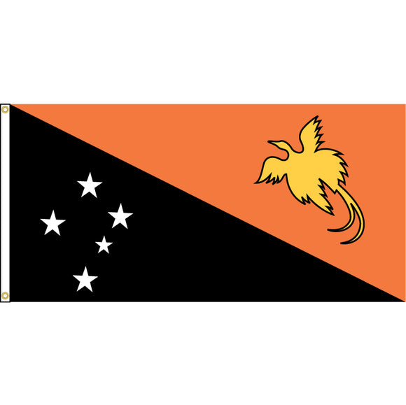 Papua New Guinea Flag with header and grommets.