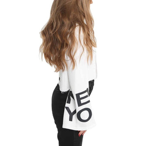New York Cropped Hoodie with Kimono style bell sleeves