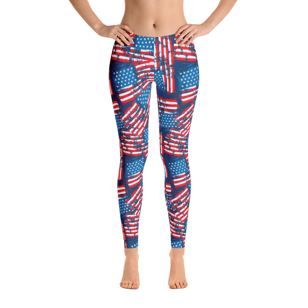 Americana Stars and Stripes Adult Printed Leggings