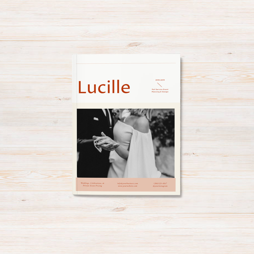 Professionally designed and customizable pricing guide template for wedding planners. Lucille template