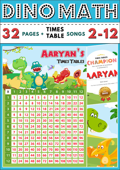 Dino-Math Times Table Activity Pack Personalised for Aaryan
