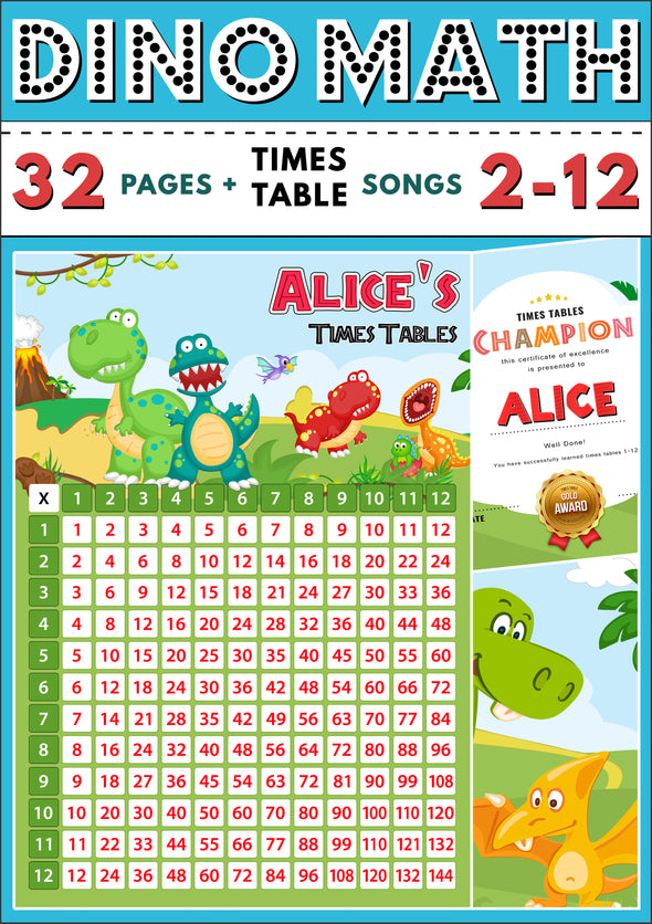 Dino-Math Times Table Activity Pack Personalised for Alice