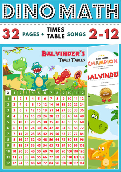 Dino-Math Times Table Activity Pack Personalised for Balvinder