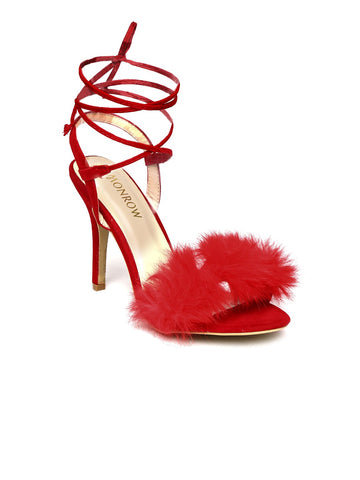Red Fur Finesse Kitten Heels