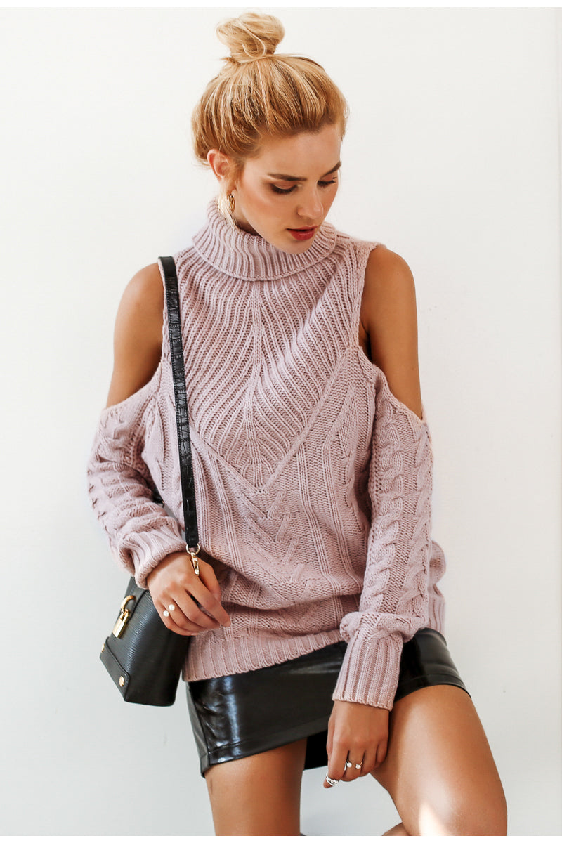 Turtleneck Open Shoulder Sweater