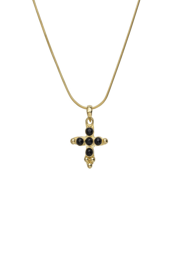 Mini cross onyx choker