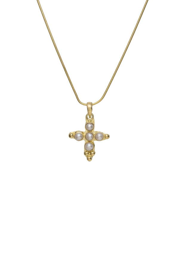 Mini cross pearl necklace