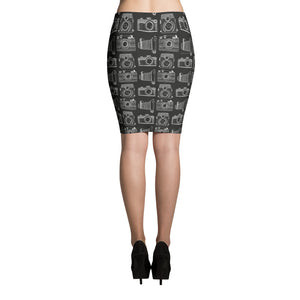 New Meets Old BW Camera Pattern Pencil Skirt