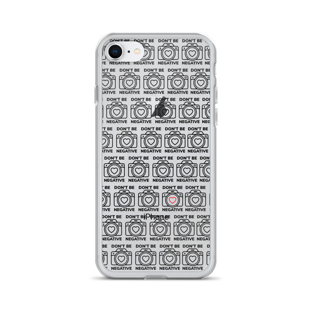Dont Be Negative Cameras w/red hearts iPhone Case