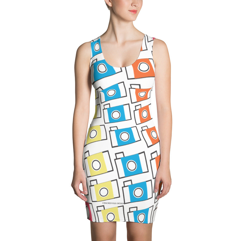 Colorful Camera Pattern (photographer) Sublimation Cut & Sew Dress