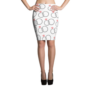 Wedding rings & heart pattern (event planner, bride, jeweler) Pencil Skirt