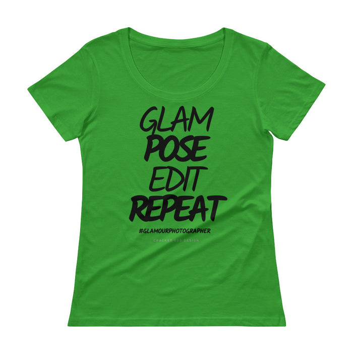 """Glam. Pose. Edit. Repeat"" #glamourphotographer Ladies' Scoopneck T-Shirt"
