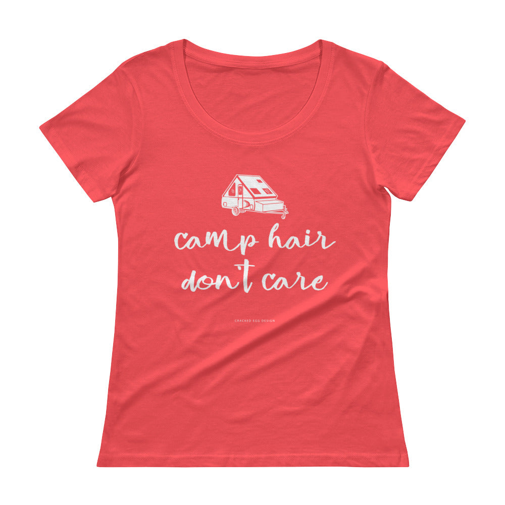"""Camp Hair Don't Care"" Funny Camping A Frame Ladies' Scoopneck T-Shirt"