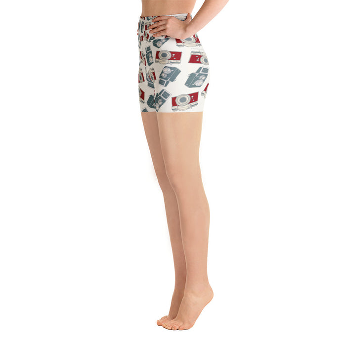 Blue and Red Camera Pattern Print Yoga Shorts