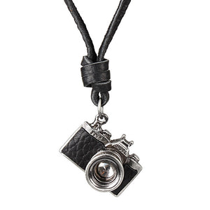 Unisex Vintage Camera Necklace Camera Adjustable Leather Necklace Pendant