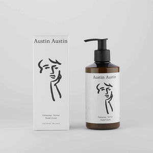 Austin Austin Palmarosa And Vetiver Hand Cream with box set against white background