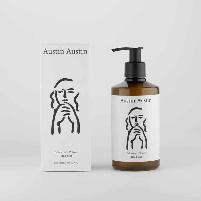 Austin Austin Palmarosa And Vetiver Hand Soap with white box set against white background