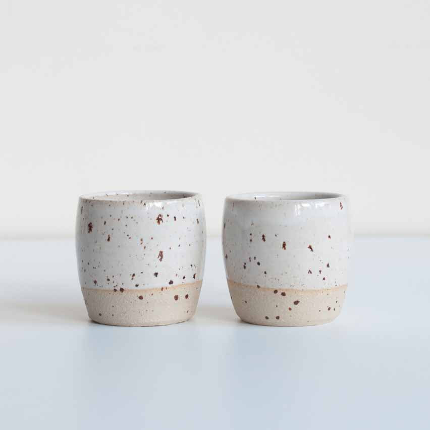 Dor & Tan Two Espresso Cups in Speckled White