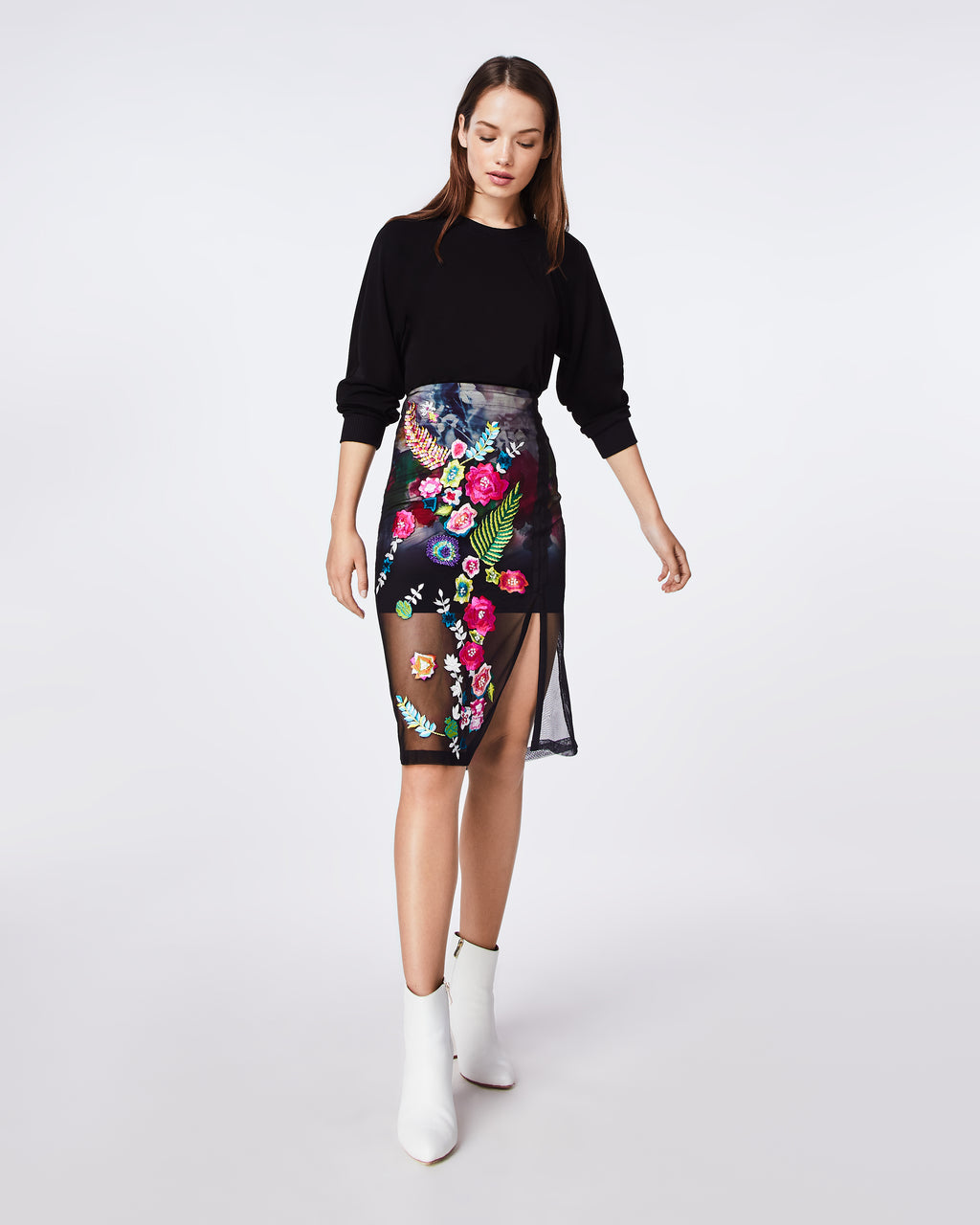 BM10208 - FAINT FLOWERS EMBROIDERY SKIRT - bottoms - skirts - This statement skirt will turn heads. The floral emboridery on the mesh overlay adds the perfect detail.
