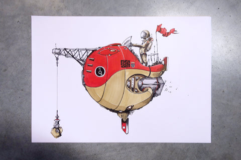 Red spaceship artwork