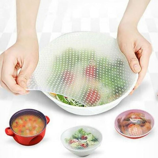 4 Pcs Silicone Food Wraps (Stay Fresh)