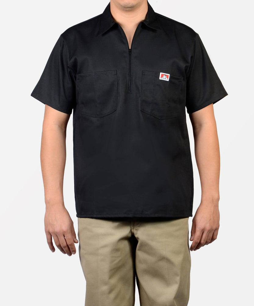 Ben Davis Short Sleeve Half-Zip Workshirt - Black