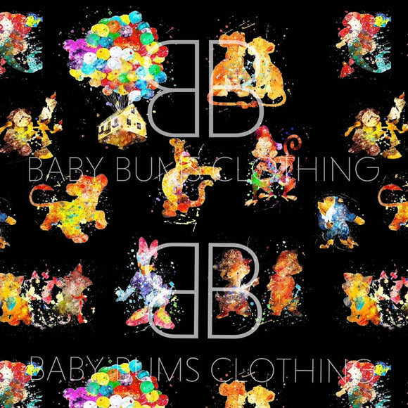PREORDER WATERCOLOR ON BLACK BLANKET - Baby Bums Clothing