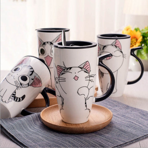 Cute Cat Coffee Mug With Lid
