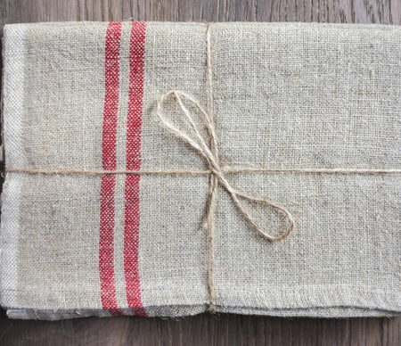 Caravan Vintage Linen Natural/Red Tea Towel