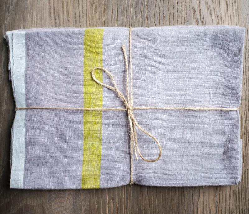 Caravan Laundered Linen Grey/Lime Tea Towel