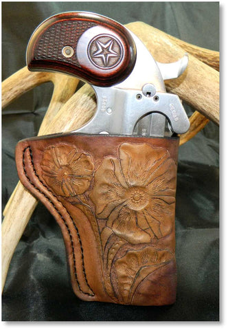 "Gary C's Custom Old Western Style, Right Hand Holster for Bond Arms Derringer, Snakeslayer IV 4.25"".  Brown Leather  CUS-013"