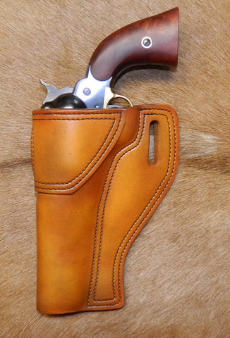 "Gary C's Avenger Left Hand Holster for Colt 1858 Army, Sheriff's Model BLACK POWDER 5-1/2"" & Similar Clones, Antiqued Golden Brown Leather. ABP-007"