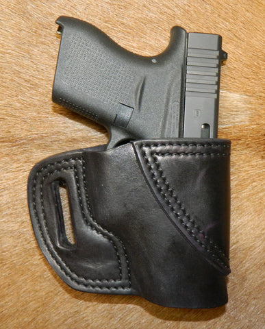 Gary C's Avenger Right Hand Holster for Glock G43, Black Leather. XBB-020