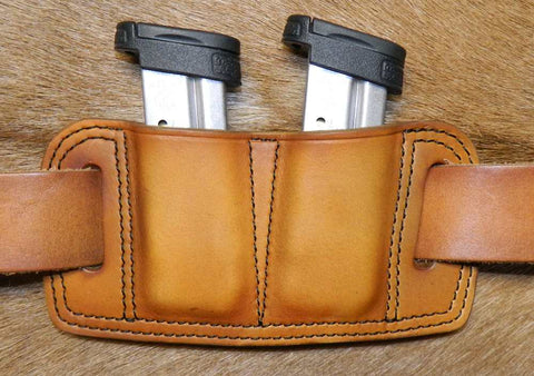 Leather Double Magazine Pouch for S&W M&P Shield Mags, 9mm/40cal Staggered Stack Mags, Antiqued Golden Brown. 5-057
