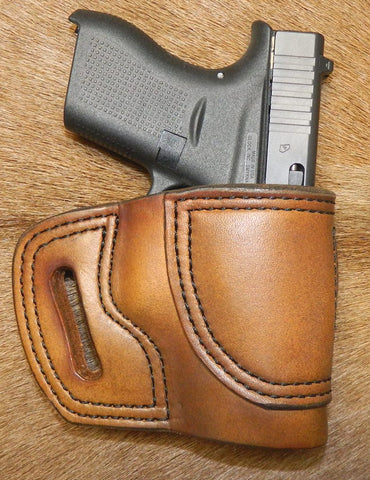 Gary C's Avenger Right Hand Holster for Glock G42 380.  Antiqued Golden Brown Leather BB-024