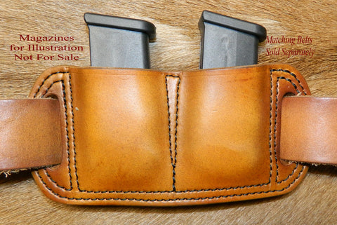 Leather Double Magazine Pouch for Glock G43 9mm Single Stack Mags, Antiqued Golden Brown. 12-027