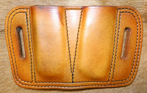 Leather Double Magazine Pouch for 45 cal Single Stack Mags, fits 1911's/Sig P220's, Antiqued Golden Brown 1-213