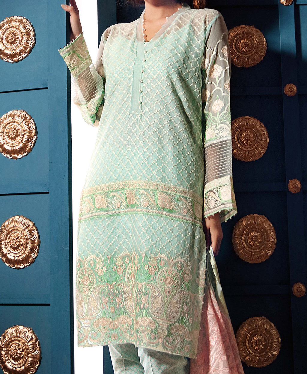 PM-203 Embroidered Chiffon 3PC Suit - Komal's