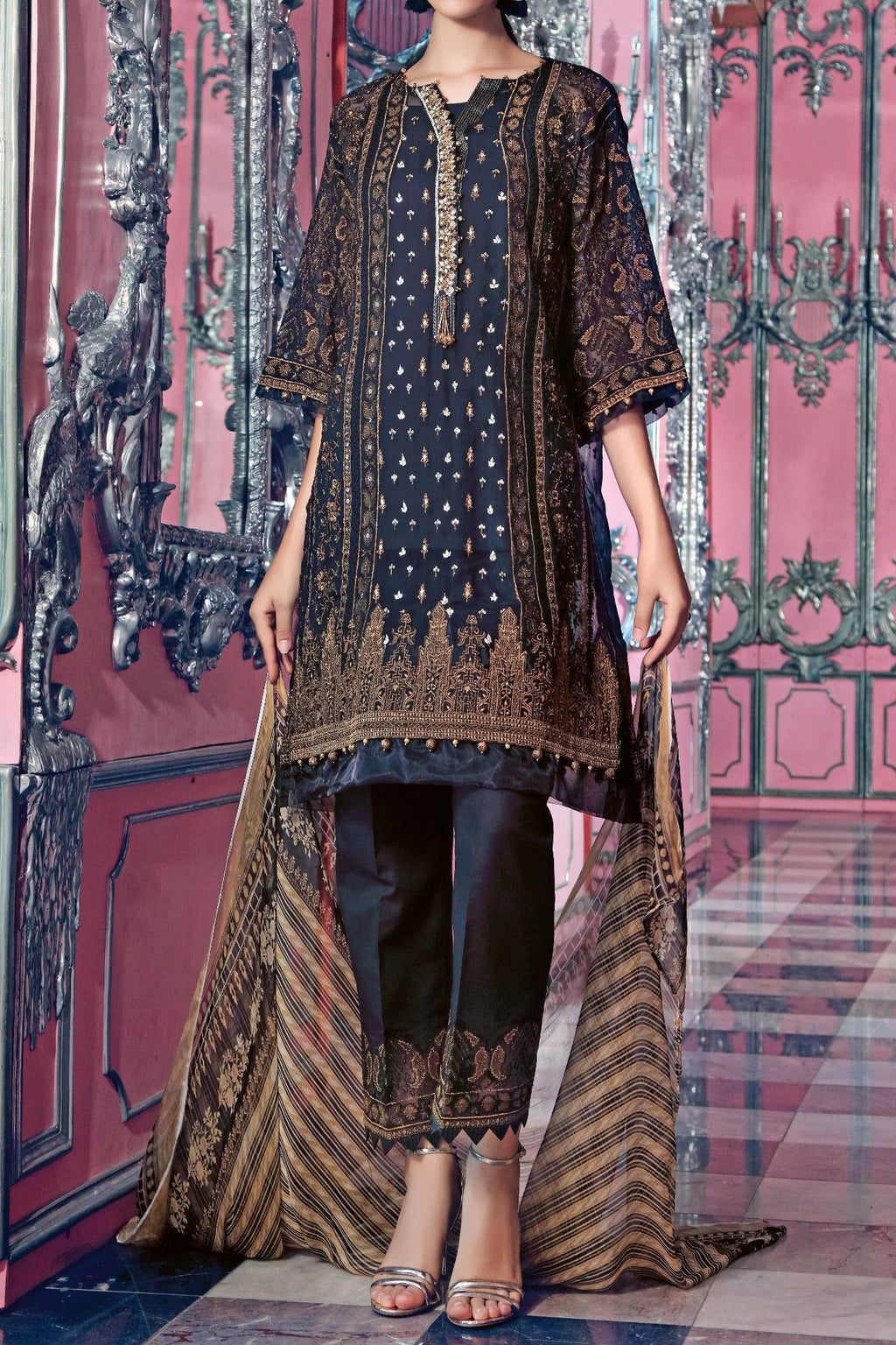 FE-118 Formal Embroidered Chiffon 3PC Suit