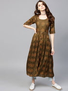 Brown Rayon Long Dress
