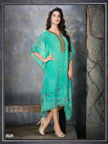 Aqua Colour Embroidered Party Wear Kaftan Kurti