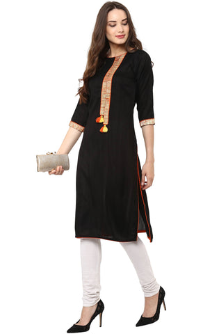 Black Cotton Kurta-www.riafashions.com