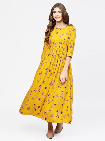 Ankle Length Yellow Colour Printed Cotton Knee Length Kurta With Flare