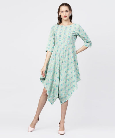 Aqua Blue Printed Make to Order Kurti
