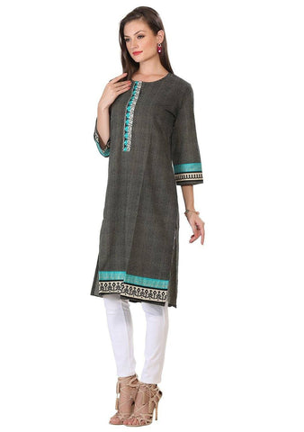 Black Cotton Embroidered Long Kurta-www.riafashions.com