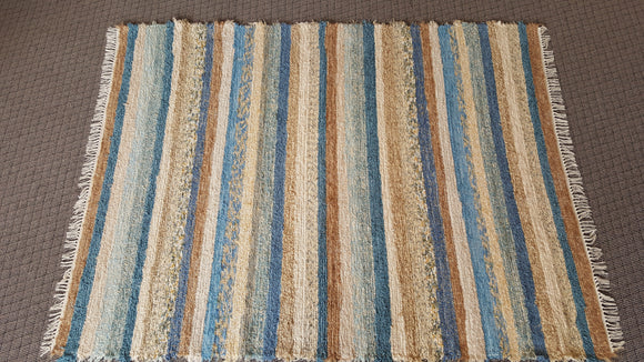 6' x 8' Country Blue, Cream & Honey U. S. HAND WOVEN Large Area Textured Rag Rug