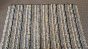 6' X 9' Black, Gray & Oatmeal U. S. HAND WOVEN Large Area Textured Rag Rug